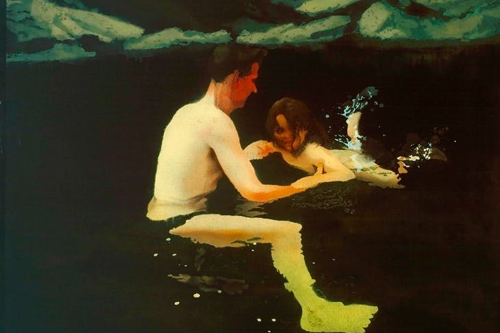 'Melanie and Me Swimming', 1978–9, by Michael Andrews