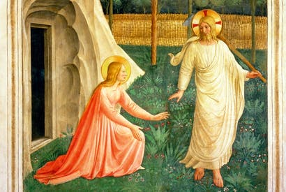 Shouldering a hoe, Christ appears to Mary Magdalene in Fra Angelico's 'Noli Me Tangere' (c.1438–50)