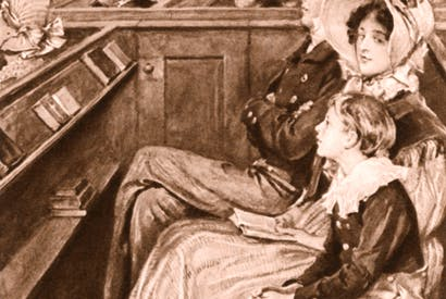 John Ruskin as a boy, seated beside his mother, listening to the sermon