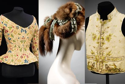 From left to right: embroidered linen jacket, 1620s; pine marten fur hat, Caroline Reboux, 1895; man's silk waistcoat embroidered in silk with a pattern of macaque monkeys, 1780–89