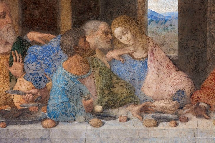 With Leonardo, improbable speculations are never-ending, The Da Vinci Code enthusiasts see the figure of St John (on the right in this detail of 'The Last Supper') as Mary Magdalene, hiding in plain sight