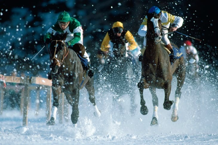 Racing on the frozen lake at St Moritz, Switzerland