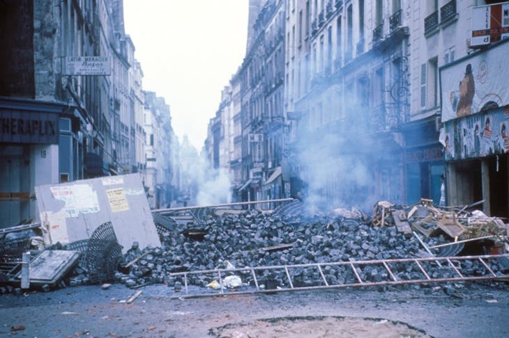 A barricade of paving stones in the Latin Quarter of Paris, May 1968