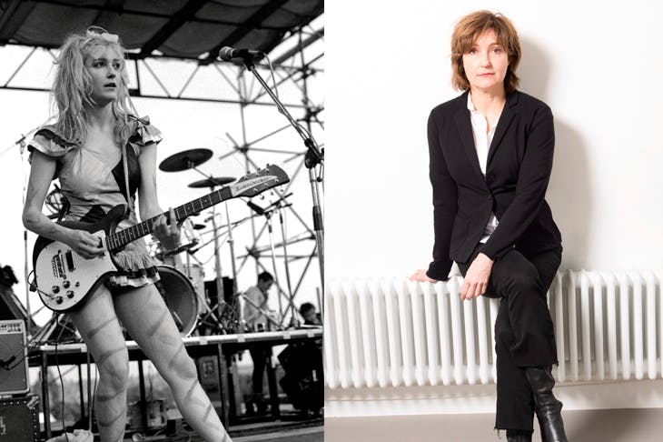 Viv Albertine, left, at Alexandra Palace, 1980; and right, today