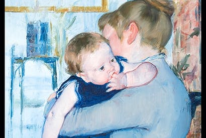 Detail from 'Baby in a Blue Suit Looking over His Mother's Shoulder', c.1883–85, by Mary Cassatt