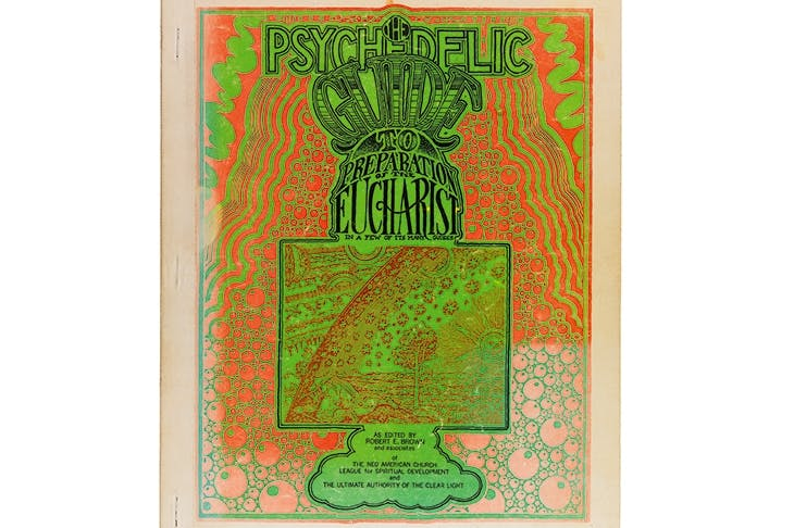 The Psychedelic Guide to Preparation of the Eucharist was a book produced in 1968 by the Neo-American Church, explaining how to manufacture and cultivate marijuana, peyote, mushrooms, morning glory, LSD and STP 'for religious purposes'. Taken from Altered States: The Library of Julio Santo Domingo by Peter Watts (Anthology Editions, available at www.anthology.net)
