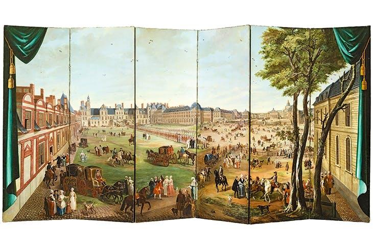 A folding screen depicting views of Versailles