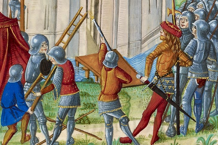 The Siege of Acre, depicted in Chroniques de France ou de Saint Denis (1487)