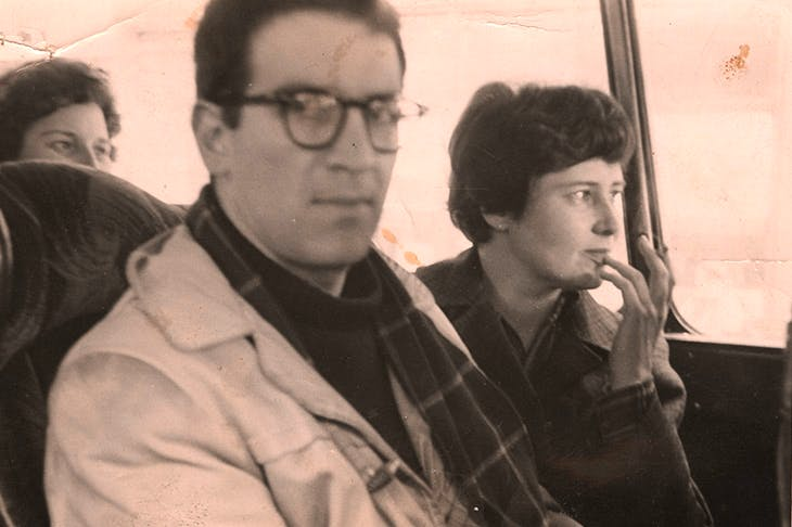 : Clancy Sigal and Doris Lessing, sitting together on a London bus