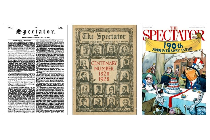 From left: The Spectator's first issue (1828), our centenary special (1928) and this week's cover celebrating 190 years
