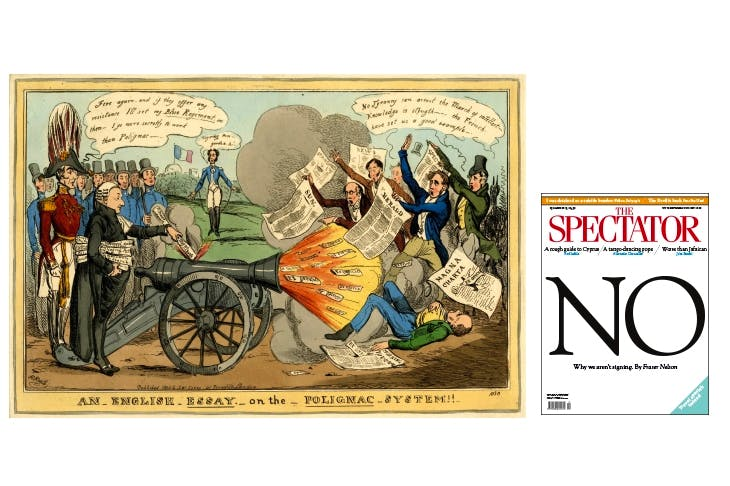 Left: A cartoon by Henry Heath (1830) shows Robert Stephen Rintoul defending the free press against the Duke of Wellington's artillery. Right: a 2013 cover in the wake of the Leveson inquiry. The Spectator would not sign up to state press regulation