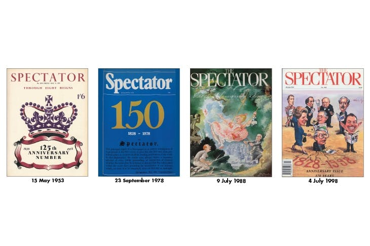 HAPPY ANNIVERSARY Our first editor, Robert Stephen Rintoul, said The Spectator was 'planned on a great scale and for long endurance'. These special issues were edited by Walter Taplin, Alexander Chancellor, Charles Moore and Frank Johnson.