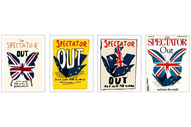 THE BUTTERFLY EFFECT Each week, our cover artist, Morten Morland, sends over rough options. These are the first drafts of our Brexit cover, which used the same headline as the one of the 1975 campaign. Mary Wakefield interrupted her maternity leave to suggest the butterfly and the box — Morten, a Remainer, then drew perhaps the most memorable illustration of the campaign.