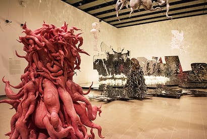 Lee Bul's 'Monster: Pink' (foreground) and 'Crashing' (background)