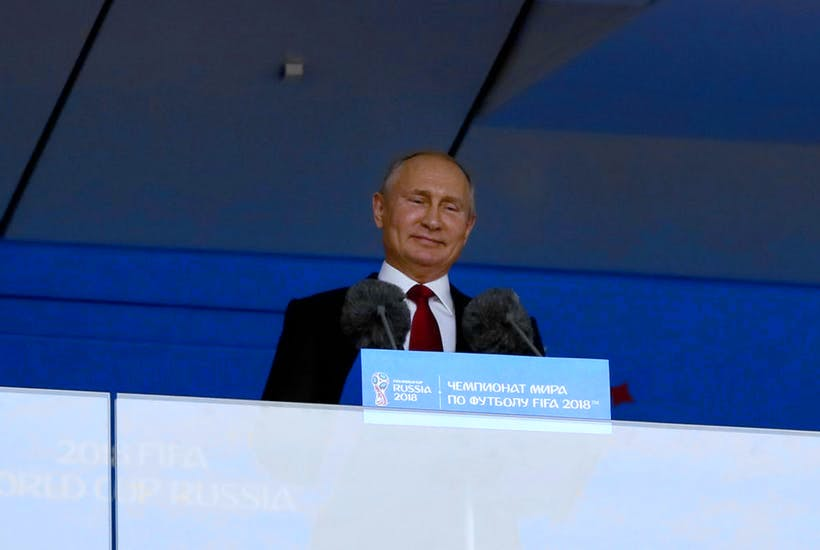 Vladimir Putin gives a speech prior to the start of the World Cup