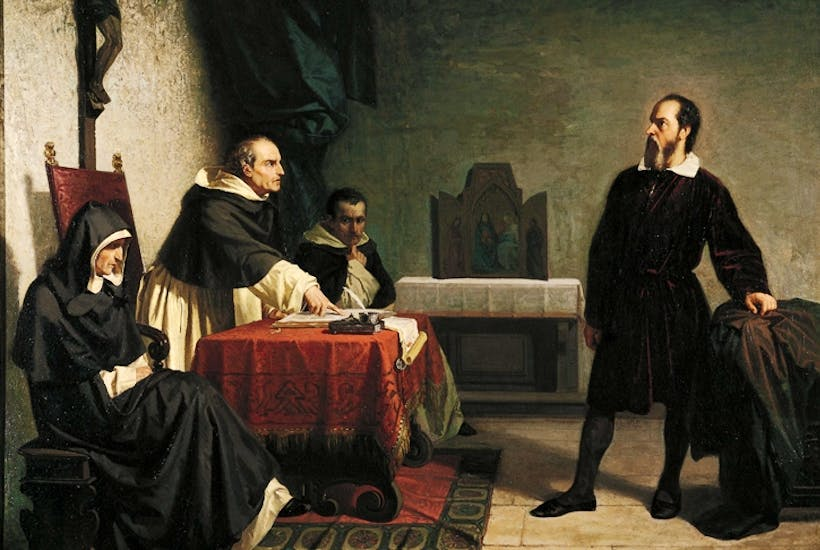 Galileo before the Inquisition in Rome, by Cristiano Banti