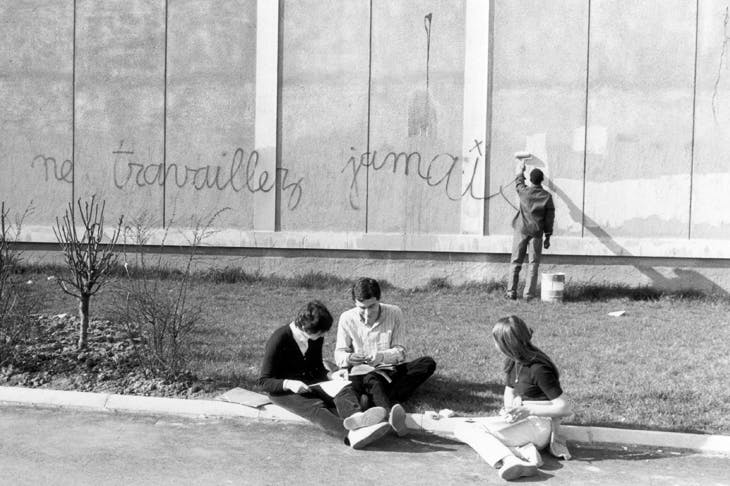 'Never work': graffiti on the walls of Nanterre University, March 1968