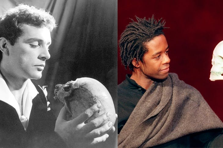 Richard Burton at the Old Vic in 1953. and Adrian Lester in Peter Brook's 2001 production