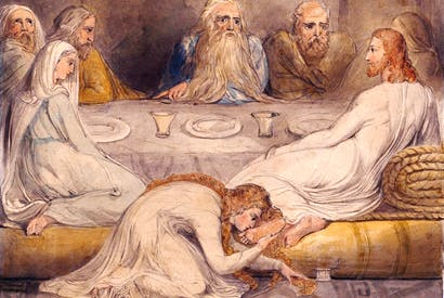 Mary Magdalene washing Christ's feet by William Blake, c.1805
