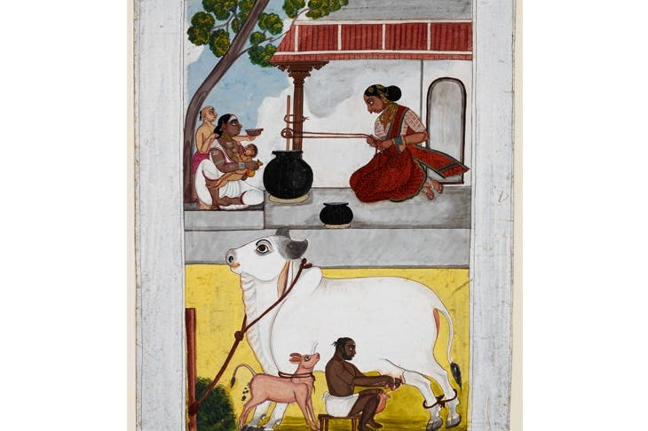 A woman churns butter while her customer and children wait. Below, her husband milks a cow with a calf tied to it