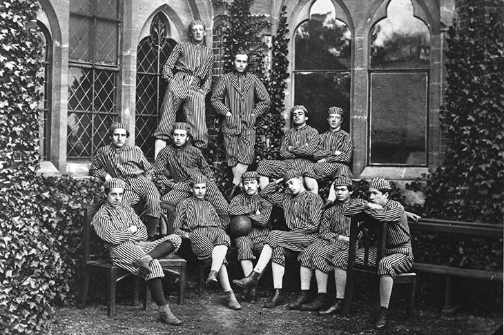 Above: Harrow's 1867. Top image: Bradfield's First XI football team winning the Boodles ISFA cup in February this year football team