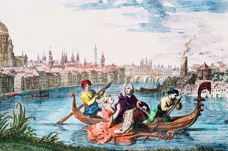 Handel is rowed in a gondola on the Thames, in an illustration for 'The Water Music'