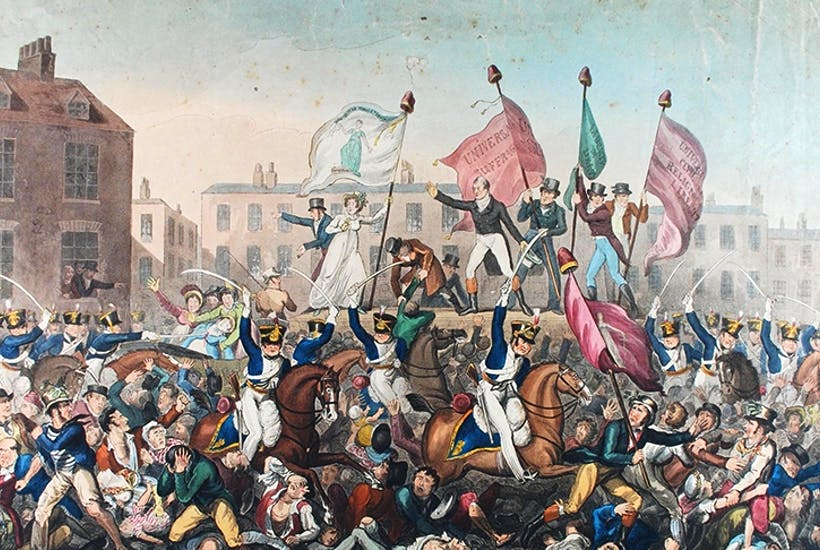 In August 1819, the cavalry charged a crowd of 60,000 in Manchester who had gathered to demand parliamentary reform