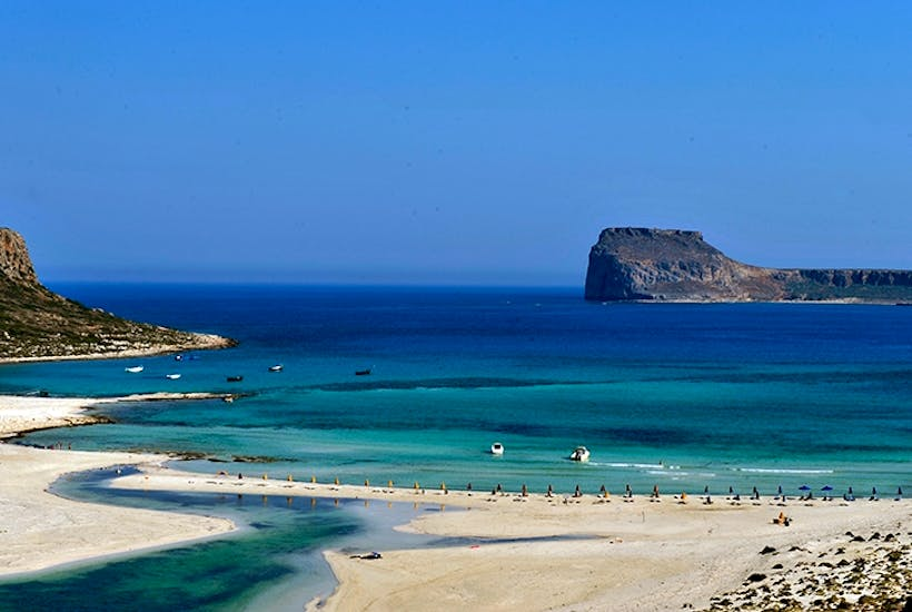 View of the Balos beach on the Gramvousa peninsula, northwestern Crete Island on July 15, 2010. AFP PHOTO / LOUISA GOULIAMAKI (Photo credit should read LOUISA GOULIAMAKI/AFP/Getty Images)