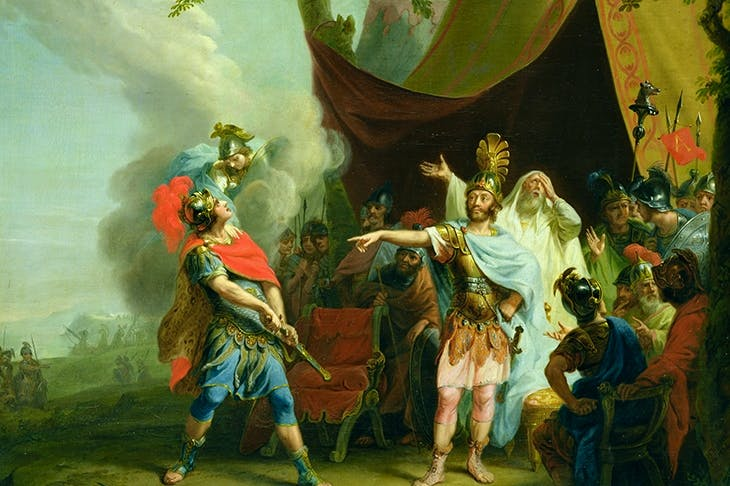 'Achilles has a dispute with Agamemnon [following Briseis being taken away, and Achilles refusing to fight until she is returned]', J.H. Tischbein, 1776, oil on canvas. (Bridgeman Images)