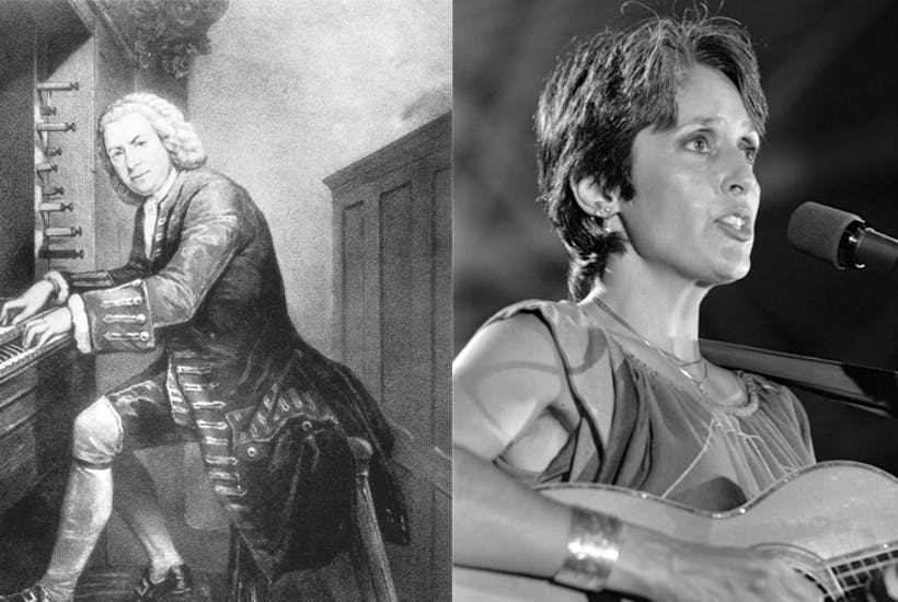"""'Catholic music is often excruciating – I call it """"Joan Baez meets Hildegard of Bingen in a 1970s cocktail lounge.""""' Baez: Pierre Andrieu /AFP/Getty Images Bach: Rischgitz/Getty Images"""