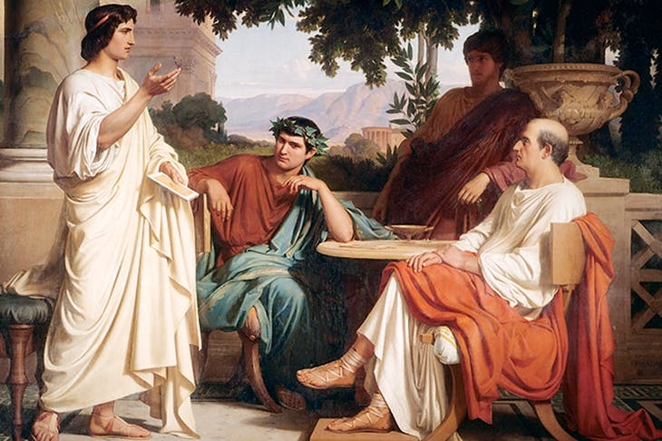 Horace, Virgil and Varius at the House of Maecenas, in the painting by Charles François Jellabert