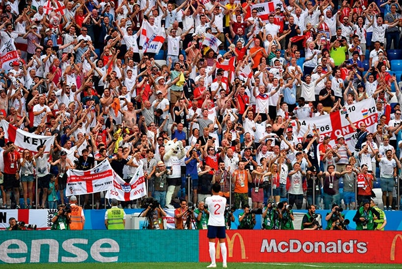 Kyle Walker in front of England fans at this year's World Cup in Russia
