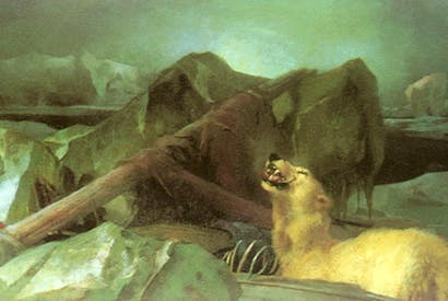 The Arctic shipwreck in Edwin Landseer's 'Man Proposes, God Disposes', 1864