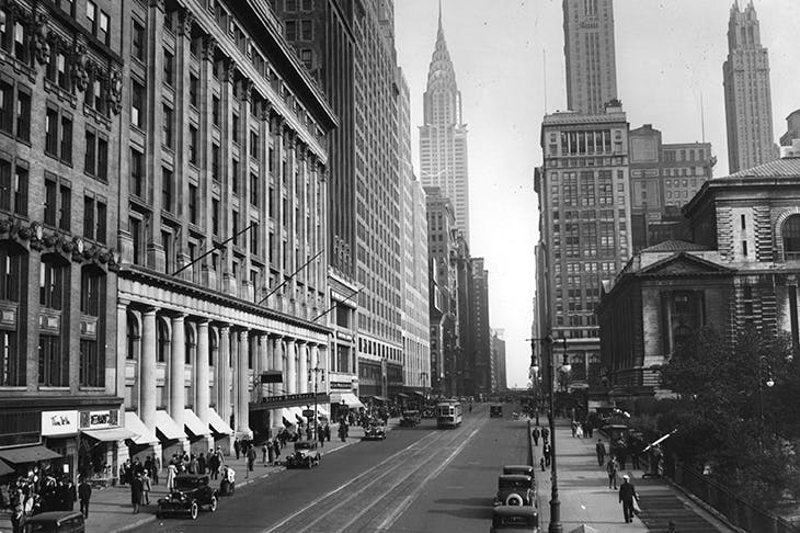 circa 1935: A view east on 42nd Street in New York City towards the Chrysler Building. (Photo by Hulton Archive/Getty Images)
