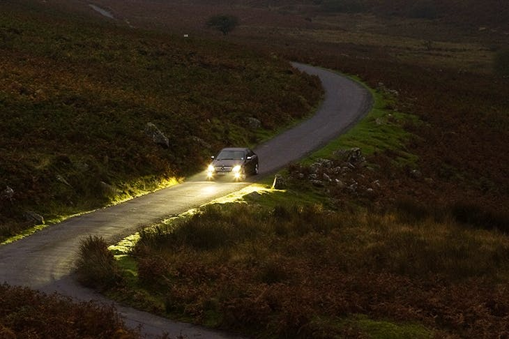 Car On Country Road, Dartmoor, UK