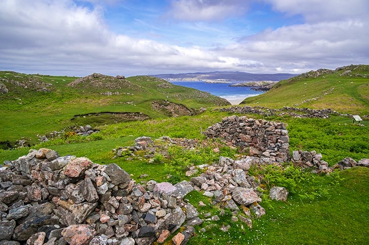 Ceannabeinne, the now ruined village near Durness in the Scottish Highland, was a thriving community before the Clearances. Credit: Getty Images