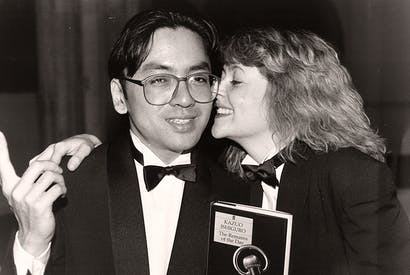 Kazuo Ishiguro winning the Booker Prize in 1989. Photo: Alex Lentati/ Associated Newspapers/ REX/ Shutterstock