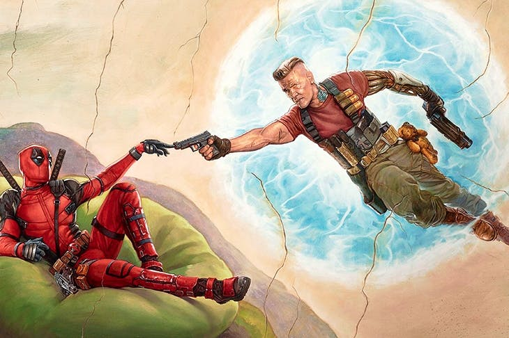 Cable and Deadpool recreate the image from the Sistine chapel (Deadpool 2) [Rex Shutterstock]
