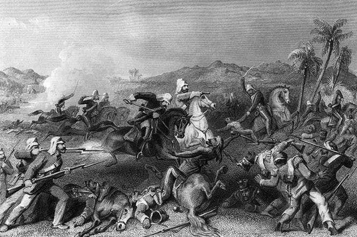'Attack on the Sealkote mutineers by General Nicholson's Irregular Cavalry, 1857.' Illustration by Charles Ball