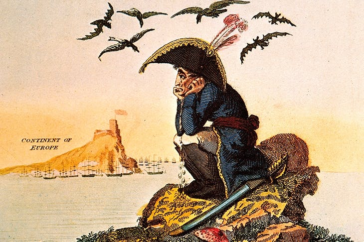 'The Sorrows of Boney, or Meditations on the Island of Elba', published by John Wallis, 15 April 1814