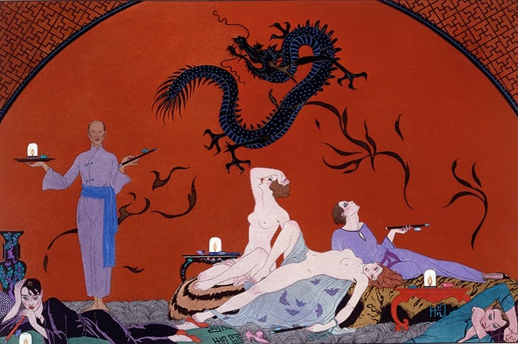 Georges Barbier's imaginative illustration of an opium den c. 1921