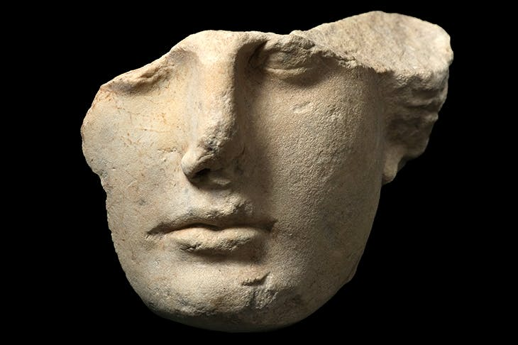 Face of young woman partially destroyed, dating from the 1st century BC, found at Tivoli, Italy. Credit Getty Images
