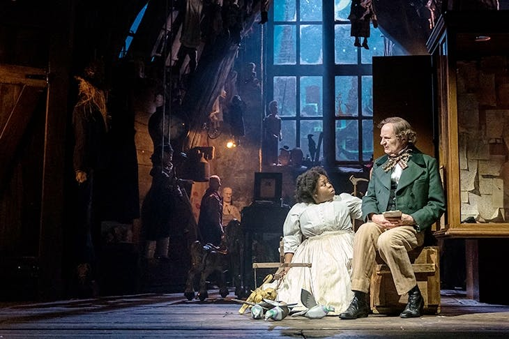 A dignified Johnetta Eula'Mae Ackles as Marjory and a bumptious Jim Broadbent as Hans Christian Andersen in McDonagh's A Very Very Very Dark Matter. Photo: Manuel Harlan