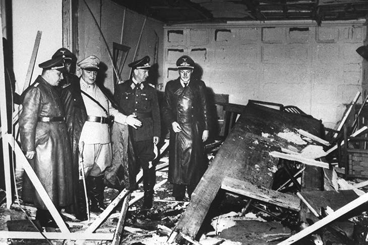 Senior Nazis inspect the wreckage of the Wolf's Lair after the failed Stauffenberg plot, July 1944.