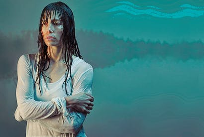 Jessica Biel as Cora Tannetti. [Photo: BBC / Iron Ocean / Universal Cable Productions LLC]