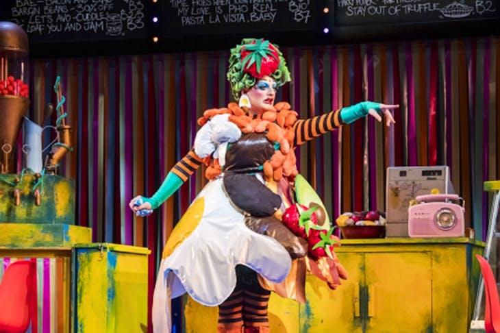 Carl Mullaney as a charismatic Dame in Lyric Hammersmith's Dick Whittington. [Photo: Tristram Kenton]
