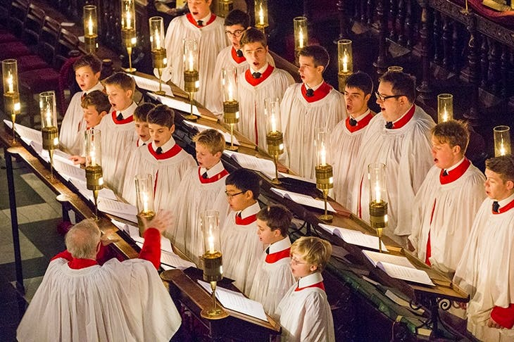 King's College Choir rehearsing for the Christmas Eve 'A Festival of Nine Lessons and Carols'. Photo credit: Geoff Robinson Photography / REX / Shutterstock