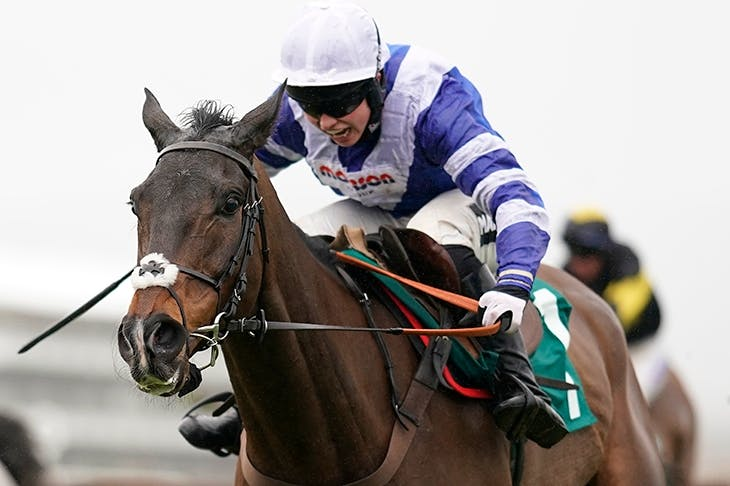 Bryony Frost riding Frodon to win the BetBright Trial Cotswold Chase at Cheltenham Credit: Photo by Alan Crowhurst/Getty Images