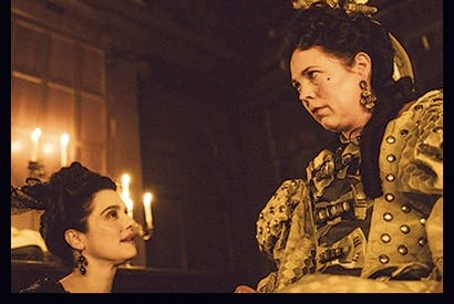 Like a late-stage Elvis but with rabbits: Olivia Colman as Queen Anne in The Favourite