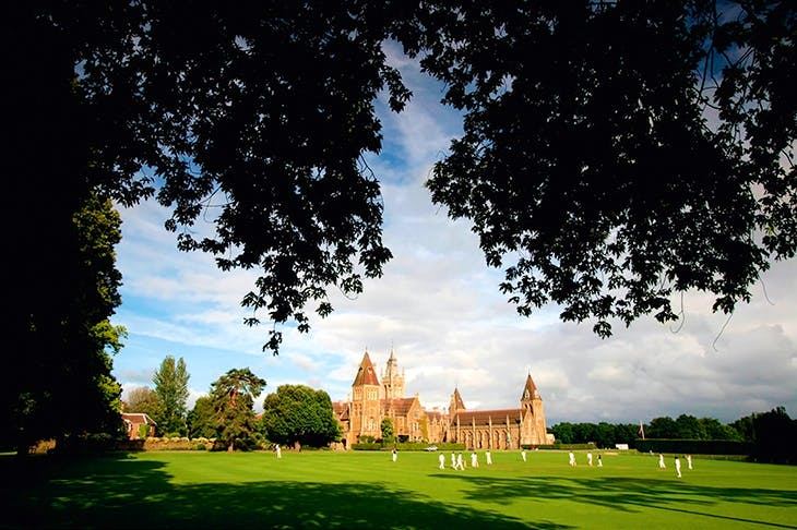 Faux-Gothic spires and the sound of leather on willow: a cricket match in 2007 at Charterhouse, one of the original 'great nine' English public schools